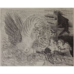 four children viewing a monster - lithograph -  Picasso