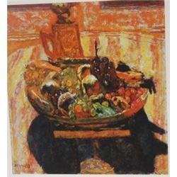 Fruit baseket: Grapes & bananas  - Lithograph - Bonnard