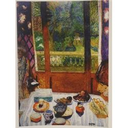 Dining room overlooking the garden Limited edition - Lithograph - Bonnard