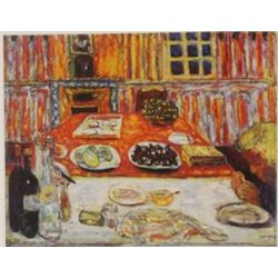 The red Table - Lithograph -  Bonnard