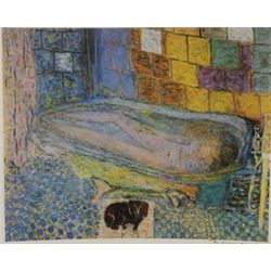 Accompanied in the bath  - Signed Lithograph -  Bonnard