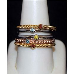 Fancy 14kt over Silver Mix 5 Rings with Mix Stones (75I)