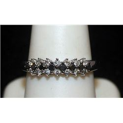 Beautiful Silver Ring with Black & White Diamonds (89I)
