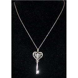 Gorgeous Silver Heart-Cross-Key Shape Necklace with Diamonds (93I)