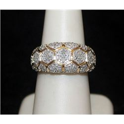 Very Fancy 14kt over Silver Ring with Diamonds (94I)