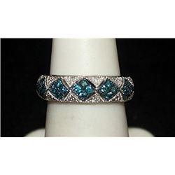 Gorgeous Silver Ring with Blue Topaz & Diamonds (145I)