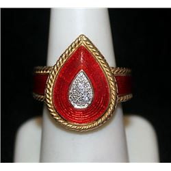 Fancy 14kt over Silver Ring with Diamonds (146I)