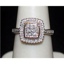 Gorgeous 14kt over Silver Ring with Cluster Diamonds (154I)