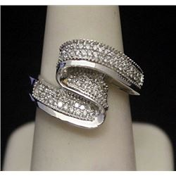 Fancy Silver Ring with Cluster Diamonds (155I)