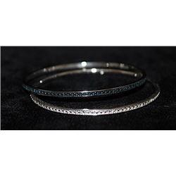 Gorgeous Silver Double Bangles with Lab Alexandrites & Diamonds (162I)