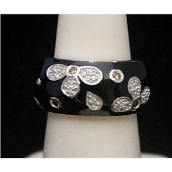 Lady's Gorgeous Silver Ring with Black Onyx & Diamonds (179I)
