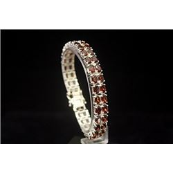 Beautiful Rose Garnet Silver Bracelet