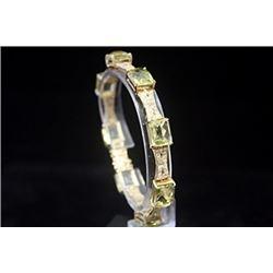 Beautiful 14kt Gold over Silver White Sapphire & Green Citrine Bracelet