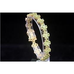 Fancy 14kt Gold over Silver Peridot Bracelet