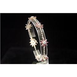 Elegant Ruby & Topaz Silver Bracelet
