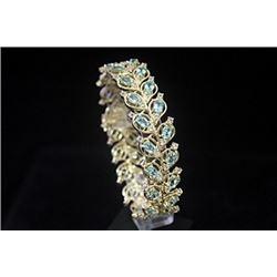 Dazzling 14kt Gold over Silver White Sapphire & Topaz Bracelet