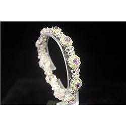 Elegant Amethyst & Peridot Silver Bracelet