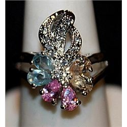 Gorgeous Multi Colored Sterling Silver Ring. (561L)