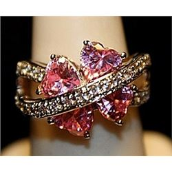 Gorgeous Pink Lab Sapphires & White Topaz SS Ring. (734L)