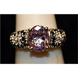 Fancy Pink Sapphires & White Sapphires SS Ring. (750L)
