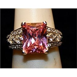 Fancy Pink Lab Sapphire & White Topaz SS Ring. (759L)