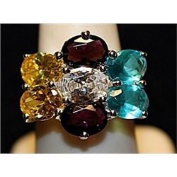 Beautiful Multi Color Sterling Silver Ring. (764L)