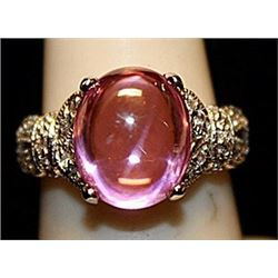 Beautiful Pink Lab Sapphire & White Topaz SS Ring. (770L)