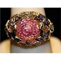Gorgeous Antique Style Pink Sapphire SS Ring. (771L)