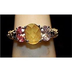 Fancy Pink Sapphire, Kunzite, Citrine & White Topaz SS Ring. (776L)