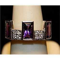 Fancy Amethyst Sterling Silver Ring. (785L)