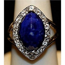 Gorgeous Lapis with Sapphires SS Ring. (243L)