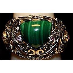 Beautiful Jade with Diamonds SS Ring. (244L)