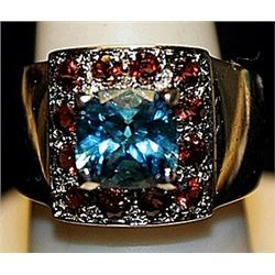 Gorgeous Royal Blue Topaz & Rose Garnets SS Ring. (246L)