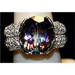 Fancy Lab Alexandrite & White Topaz SS Ring. (176L)