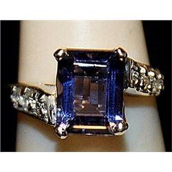 Beautiful Lab Tanzanite Sterling Silver Ring. (181L)