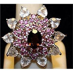 Beautiful Garnet, Pink Sapphires & White Topaz SS Ring. (217L)