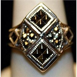 Gorgeous Marcasite & Black Diamonds SS Ring. (162L)