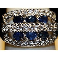 Beautiful Blue & White Sapphires SS Ring. (185L)