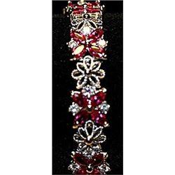 Fancy Lab Rubies & Sapphires Sterling Silver Bracelet.