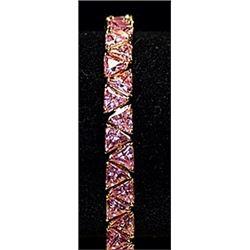 Beautiful Pink Lab Sapphires Sterling Silver Bracelet.