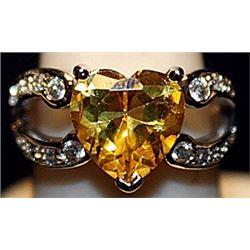 Fancy Yellow Lab Sapphire Heart & Topaz SS Ring. (505L)