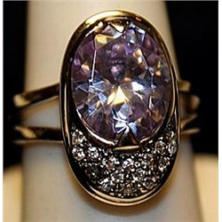 Gorgeous Kunzite & White Topaz SS Ring. (534L)