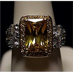 Fancy Golden Lab Sapphire & White Topaz SS Ring. (553L)