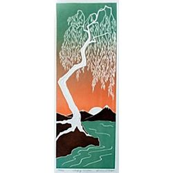"Embossed Lithograph, Entitled: ""Weeping Willow"""