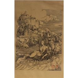 """Museum Lithograph """"The Sea Monster"""" after Albrecht Durer"""