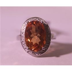 Exquisite Sterling Silver Ring with Lab Golden Sapphire