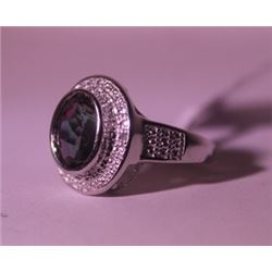 Exquisite Sterling Silver Ring with Lab Alexandrite and Diamonds