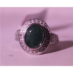 Exquisite Sterling Silver Ring with Genuine Columbian Emerald and Diamonds