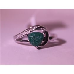 Exquisite Sterling Silver Ring with Triangle Cut Genuine Columbian Emerald and Diamonds