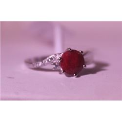 Exquisite Sterling Silver Ring with Round Cut Pigeon Blood Ruby